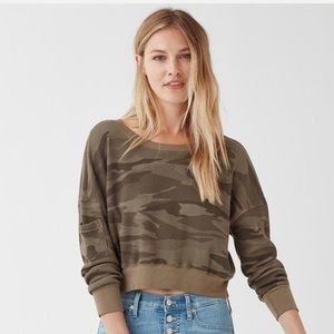 Splendid Cropped Academy Green Camo Thermal EUC XS